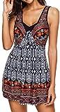 EUDOLAH Damen Paisley Muster Bunt Tankini Figurformender Badekleid mit Röckchen