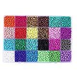 Cristal Semilla Pony Beads 3 Mm Kits, Bolas de Bricolaje Set 24 Colores Mezclados Surtido para la decoración Hecha a Mano joyería 12000pcs Collar de la Pulsera