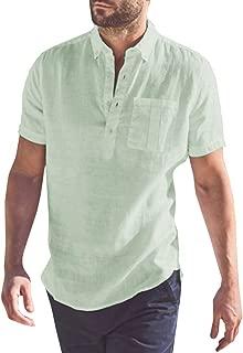 PASLTER Mens Linen Shirts Short Sleeve Henley Cotton Casual Polo T-Shirts Summer Beach Shirts