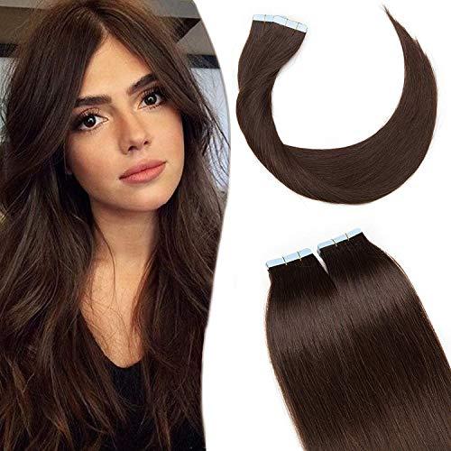 SEGO Extension Biadesivo Capelli Veri Adesive 20 Ciocche Biadesive Evolution Tape Extensions con Naturalezza 60g/Confezione Remy Human Hair (35cm, 2 Marrone Scuro)