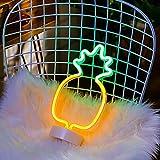 Luz Letrero de Neón Piña, ZVO Pineapple LED Neon Signs, Lámparas Nocturna Decorativa De Neón Interior con Batería O USB, Iluminación de Decoración para Dormitorio Fiesta Cumpleaños Navidad
