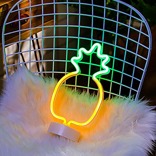 Pineapple LED Neon Signs – Luz nocturna decorativa de neón rosa – Carga USB y lámparas de escritorio funciona con pilas, luz de decoración de mesa para niños, dormitorio,hogar fiesta, cumpleaños