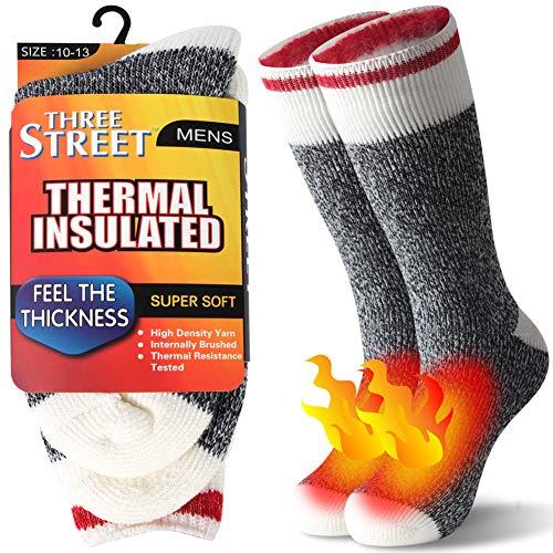 Slipper Home Socks Women, Three street Womens Extreme Cold Socks Winter Soft Warm Fuzzy Socks Casual Thermal Insulated Heavy Duty Winter Acrylic Brushed Socks Anniversary Socks Grey Red White 1 Pair