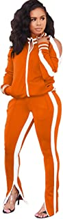 Womens Two Piece Outfits Tracksuit - Cold Shoulder Jackets Long Sweatpants Bodycon Jogging Suit