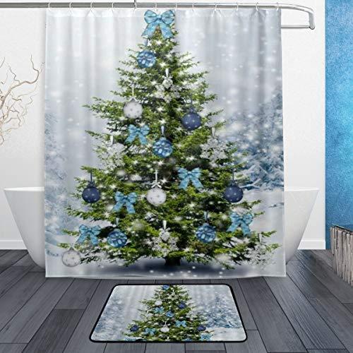 NOLYXICI Cortina de Ducha de pie A Prueba de Agua Resistente al Moho Cuarto de baño,Feliz año Nuevo Copos de Nieve Navidad Invierno árboles con Bolas de Plata Azul Arcos Feliz Cristo