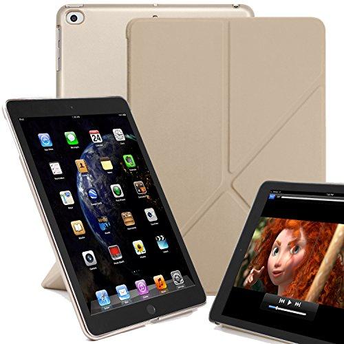 KHOMO iPad 9.7 Origami Hülle Hülle 2018, 2017, Air 1 Gehäuse mit Doppeltem Schutz Ultra Dunn & Super Leicht Smart Cover Schutzhülle für iPad 9.7 2018, 2017 - Golden