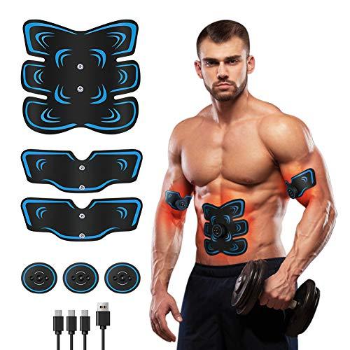 Fediman EMS Bauchmuskeltrainer, EMS Trainingsgerät mit 6 Modi & 9 Intensitäte- Hilfe beim Abnehmen, Muskelaufbau und Figurformung - USB Wiederaufladbare Ultimative Elektrische Muskelstimulator