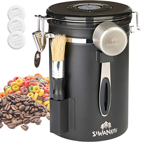 Siwanamu Coffee Canister, Airtight Stainless Steel Food Storage Container with Date Tracker, Brush and Scoop for Beans and Grounds, Flour, Sugar, 22OZ, Black
