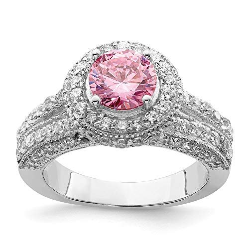 925 Sterling Silver Round Pink White Cubic Zirconia Cz Band Ring Size 7.00 Fine Jewelry For Women Gifts For Her
