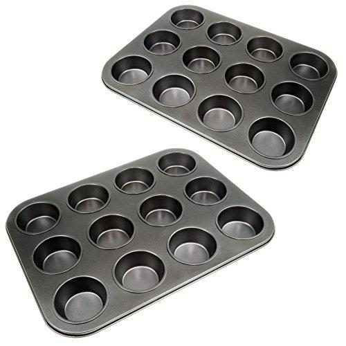 YOUZiNGS 2 moldes de 12 magdalenas con revestimiento antiadherente, para magdalenas, magdalenas,...