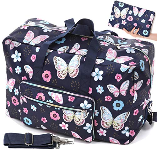 Dark Blue Duffel Bag With Butterfly Print