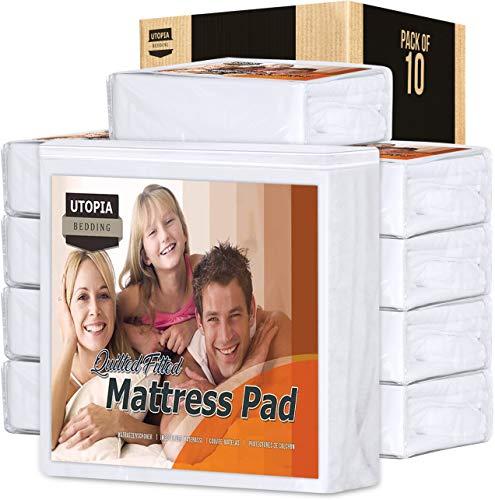 Utopia Bedding - Funda de colchón doble acolchada para cama de matrimonio, se estira hasta 38 cm de profundidad, no resistente al agua, 10 unidades de 135 x 190 cm