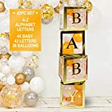 82 PCS Gold Neutral Baby Shower Decorations for Boy and Girl - Jumbo Transparent Baby Block Balloon Boxes. Includes BABY, A - Z Letters DYI, Gold White Pink and Blue Balloons | Gender Reveal Party Supplies, 1st Birthday Decor, Name Combination