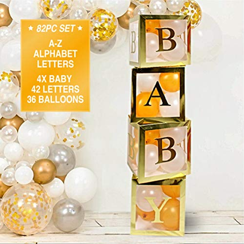 Gold Neutral Baby Shower Decorations for Boy and Girl - Jumbo 82pcs Transparent Baby Block Balloon Boxes. Includes BABY, A - Z Letters DYI, Gold White Pink and Blue Balloons | Gender Reveal Party Supplies, 1st Birthday Decor, Name Combination