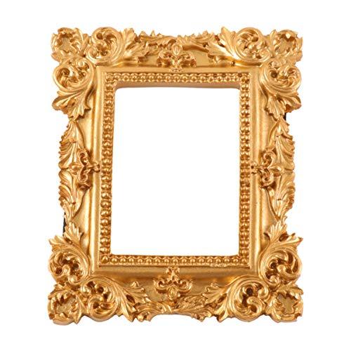 BESPORTBLE Marco de Fotos Vintage Resina Dorado Adornado con Textura Rectángulo Marco de Fotos de Escritorio Soporte de Fotos Marco de Exhibición de Joyería Decoración del Hogar