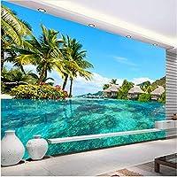 Lcymt Hdモルディブ海ビーチ自然風景壁紙リビングルームテレビ背景壁の装飾壁画-200X140Cm