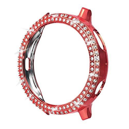 DAAGFC Moda de dos filas de diamante PC parachoques para Galaxy Watch Active 2 Case 40mm 44mm Active2 mujeres Bling Thin Cover Accesorios (Color: Rojo, Diámetro de la esfera: Para Active2 40mm)
