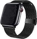 Mediatech Ersatzarmband Kompatibel mit Apple Watch Armband 44mm 42mm 40mm 38mm Edelstahl-Armband, Wechselarmband mit Magnetverschluss kompatibel mit iWatch Series 6/5/4/3/2/1 SE (42mm/44mm, Schwarz)