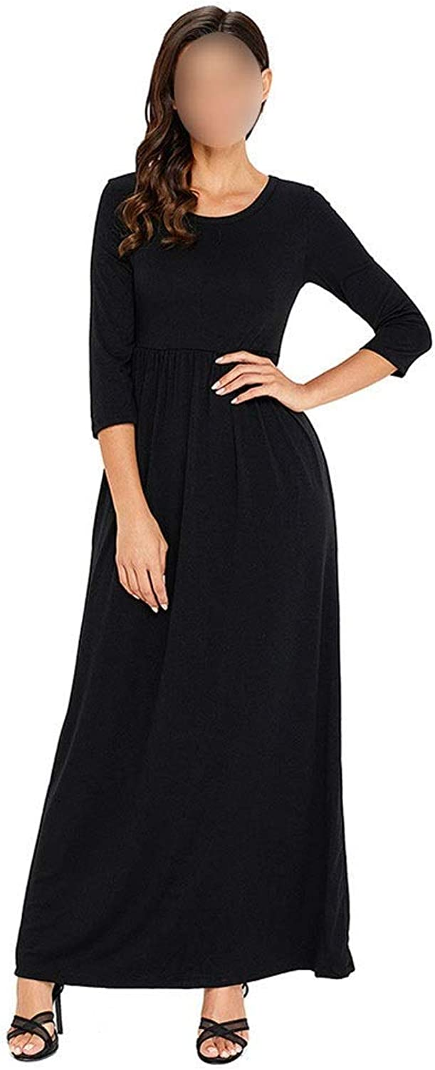 Sububblepper Women's 3 4 Sleeve Crew Neck Long Maxi Dress with Pockets (color   Black, Size   S)