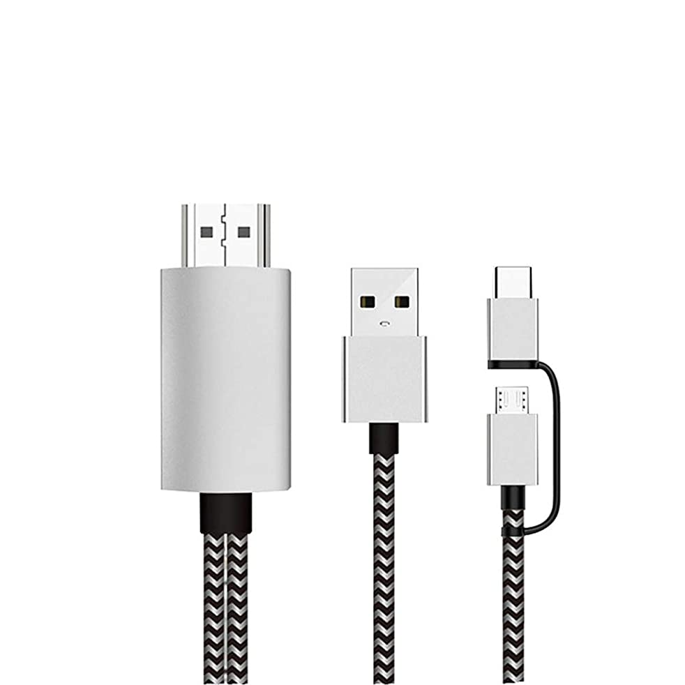 [Plug and Play] 1080P HD Lighting Micro USB Type-C to HDMI HDTV Adapter Cable Converter for Android Samsung