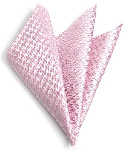 【日本の絹】 シルク ポケットチーフ メンズ 日本製 千鳥格子 フォーマル 礼装 セレモニー ホワイト 白 シルバー 結婚式 披露宴 ブライダル 式典 丹後織物工業組合認証 (ピンク)