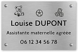Personaliseerbaar bord voor kleuterschoolassistent, personaliseerbaar, 30 x 20 cm, zilverkleurige zwarte letters – schroev...