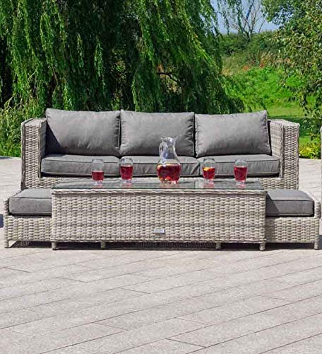 Patio Outdoor Furniture Sets Aluminum Wicker Conversation Set No Assembly Grey Couch 4pcs Garden Rattan Furniture Sofa Ottoman Table,No Assembly w/Free Waterproof Cover