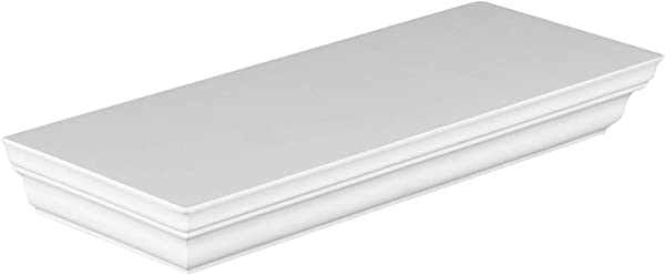 Halter Single Rectangular Floating Shelf Pristine White Finish Sturdy Highly Durable Construction Easy Installation Hardware Screws Included Holds 10 Lbs 5 Kg 11 5 X 1 75 X 4 5