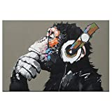 DVQ ART-Framed Animal Music Gorilla Canvas Printed Painting Modern Funny Thinking Monkey with Headphone Wall Art for Home Decor Ready to Hang 1 PCS (16x24inch(40x60cm))