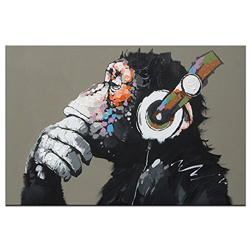 DVQ ART-Framed Animal Music Gorilla Canvas Printed Painting Modern Funny Thinking Monkey with Headphone Wall Art for Living Room Decor Ready to Hang 1 PCS (20x30inch(50x75cm))