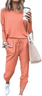 ouxiuli Womens Long Sleeve Pullover Sweater Top Drawstring Long Pants Set Two Piece Outfits Workout Tracksuit Set