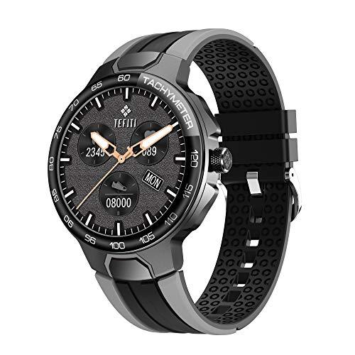 SmartWatch - Reloj de fitness para hombre y mujer con saturímetro (SpO2) y presión sanguínea de monitorización, medidor de frecuencia cardíaca, impermeable IP67 con notificaciones de mensajes-negro