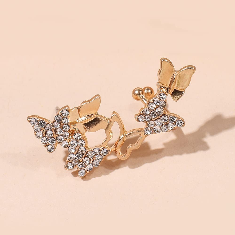 Butterfly Clips Ear Clip on Earrings for Women Gold Color Plated Ear Cuff with Crystal