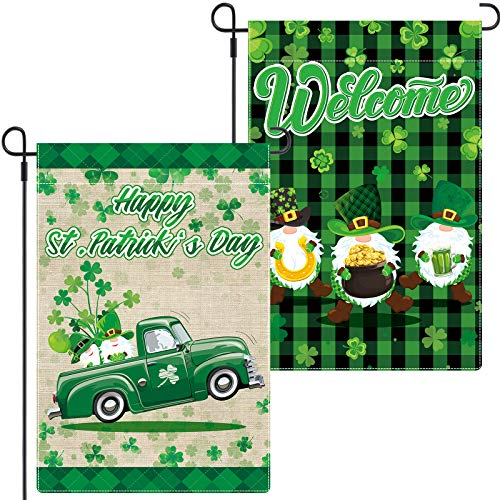 Boao 2 Pieces St Patrick's Day Garden Flag 18 x 12 Inch Welcome Gnome Garden Flag Irish Green Shamrock Garden Flag Double Sided Decorative Shamrock Truck Yard Flag for Garden Home Decoration