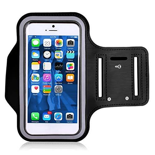 ZPFDM Ejecución de la Bolsa de teléfono móvil con el Brazalete del teléfono del Titular de la Llave para el Senderismo, el Ciclismo, Caminar (Negro)