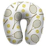 Hdadwy Oreiller de Voyage/Oreiller Cervical Housse Lavable Raquettes de Tennis balles en Forme de U Oreiller Cervical en Mousse à mémoire de Forme