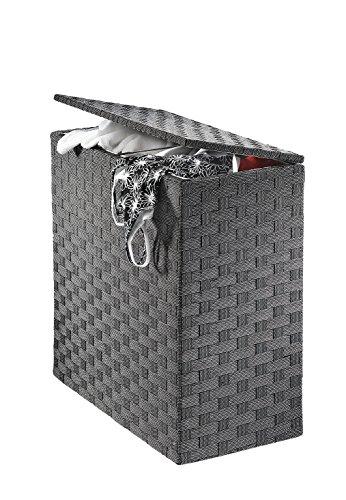 Kobolo Wäschesammler Wäschesortierer - Nylon - weiß schwarz - 125L - 2 Fächer