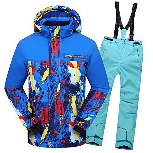 LPATTERN Kinder Skifahren Bekleidung - Kinder Jungen/Mädchen Zweiteilig Skianzug Schneeanzug Outfit-Set(Skijacke+ Skihose), Marineblau Jacke+ Eisblau Trägerhose, 116/122