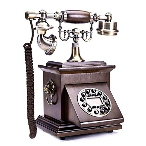 YUBIN Teléfono Retro Botón Teléfono Europeo Madera Sólida Teléfono Fijo Teléfono Fijo Americano Teléfono Hogar Oficina Decoración