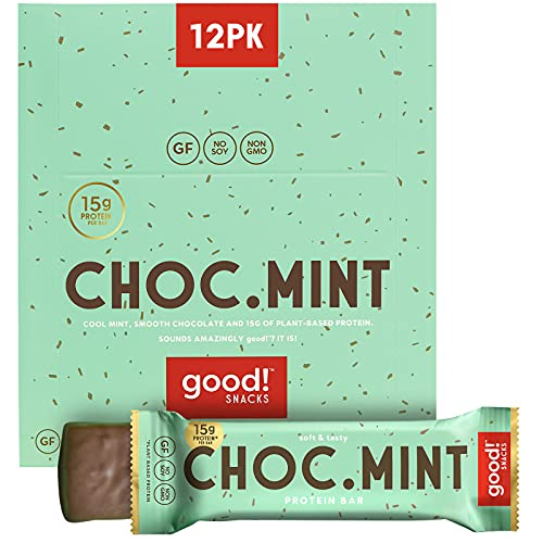 good! Snacks Vegan Protein Bars, Chocolate Mint Bar, Gluten-Free, Plant Based, Low Sugar, High Protein Meal Replacement Bar, Guilt-Free & Nutritious Healthy Snacks for Energy, 15g Protein, Kosher, Soy Free, Non Dairy, Non GMO, Vegetarian (12 Bars)