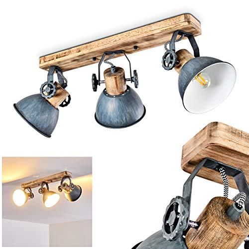 Deckenleuchte Orny, Deckenlampe aus Metall/Holz in Grau/Weiß/Braun, 3-flammig, mit verstellbaren Strahlern, 3 x E27-Fassung max. 60 Watt, Spot im Retro/Vintage Design, für LED Leuchtmittel geeignet