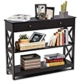 Giantex Console Table 3-Tier W/Drawer and Storage Shelves, X-Design Entryway Table for Hallway, Living Room and Bedroom Sofa Side Table (Espresso)
