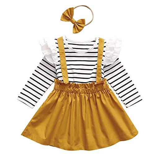 Borlai 3PCS Baby Girls Dress Outfits Set Cute Striped Shirt + Strap Skirt and Headband