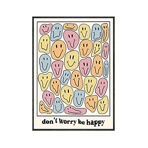 Nordic Modern Don't Worry Be Happy Face Poster ArtíSticos De Pared E ImpresióN Dream Smile Lienzo Pintura EstéTica Salon De Estar Decoracion del Hogar 30x40cm Sin Marco
