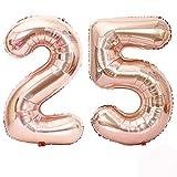 Globo 25 Años, 40 Pulgadas Globo del Cumpleaños Número 25 Helio Globos para La Decoración Boda Aniversario (Rosa Oro)