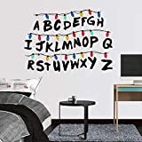 Stranger Things Wall Decals Neon English Alphabets Cartoon Decal Stickers para la decoración del hogar Niños Dormitorio Decoración de la pared