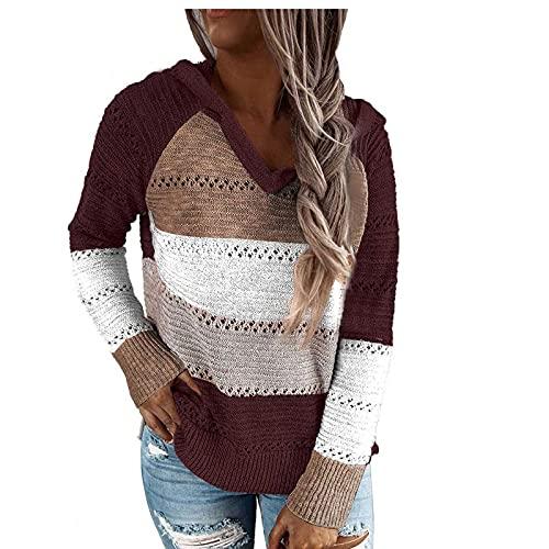 FMYONF Sudaderas de punto para mujer, con capucha, de manga larga, para otoño e invierno, con cremallera, marrón, XXL