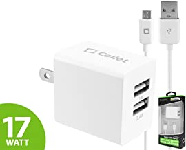 Alcatel OneTouch PoP Star 2 LTE White Dual USB Port Home and Travel Charger with Micro USB Cable, Charge your Tablet simultaneously with a 3400mAh Port