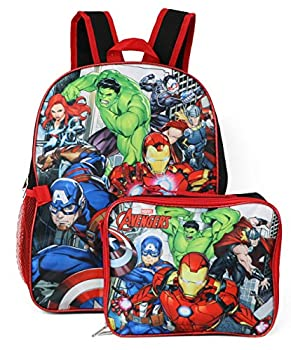 Marvel Avengers Backpack With Detachable Lunch Box  Avengers Red Black