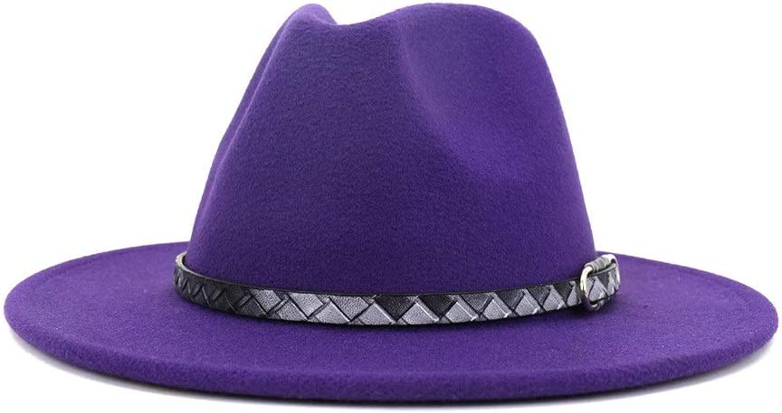 HXGAZXJQ New Cotton Fedora Hat for Men Women for Church Party Vacation, Jazz Fedora Couple Hat for Winter Autumn 2020 (Color : Purple, Size : 56-58cm)